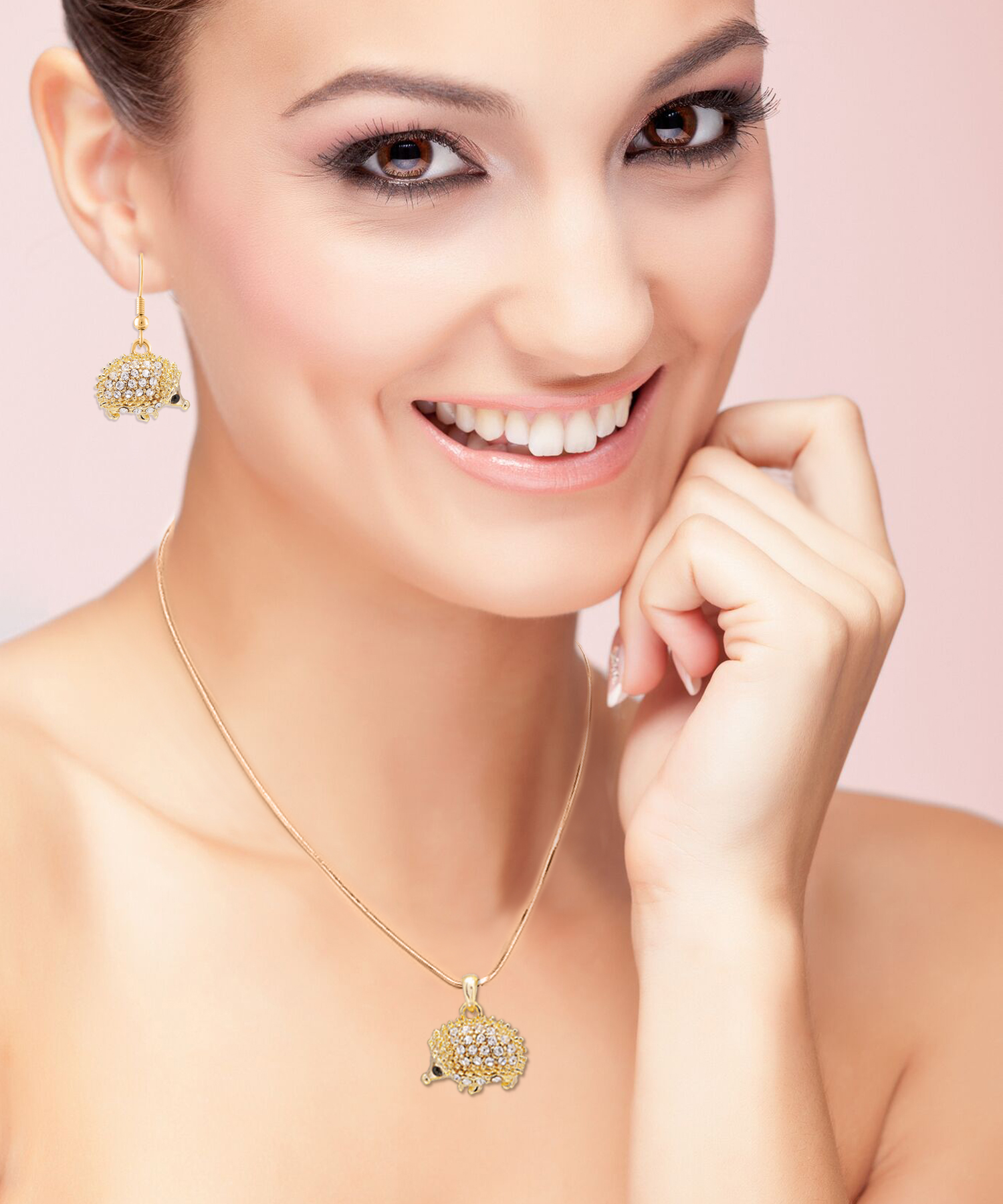 Golden hedgehog earring and necklace set